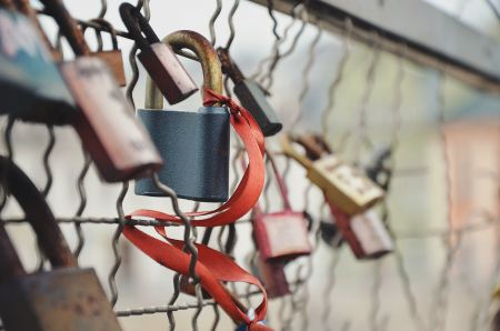 Padlocks attached to a metal grid