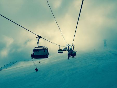 Ski lifts on top of the mountain