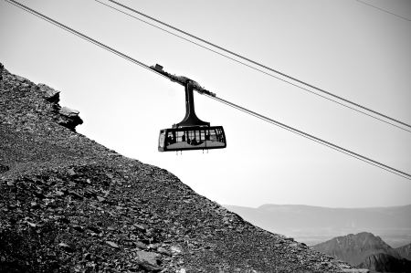 Cable car descends from the mountain