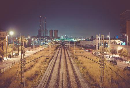 Railroad near a city