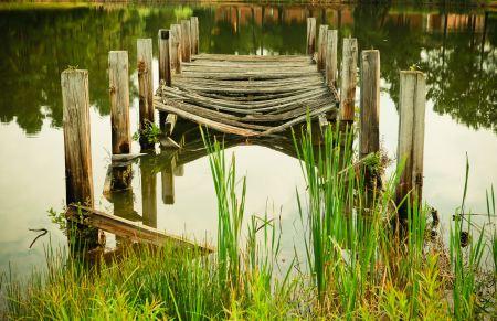 Old damaged wooden pier
