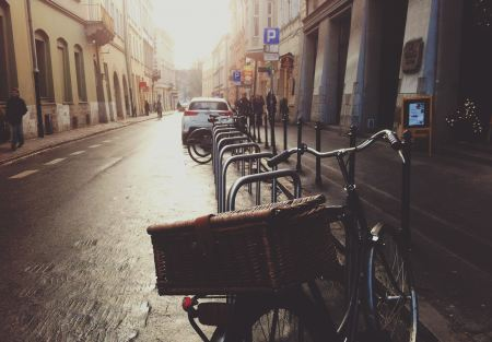 Bicycle parked on a street