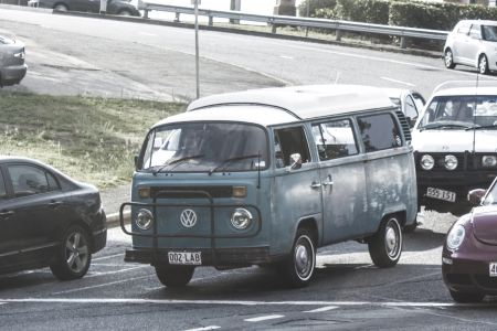 Vintage Volkswagen van on road