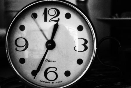 Old clock in black and white