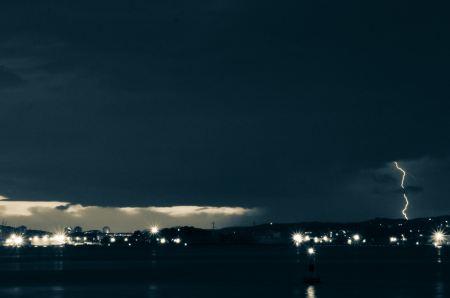 Lightning storm by night