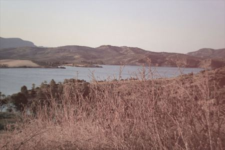Vintage lake and hill view