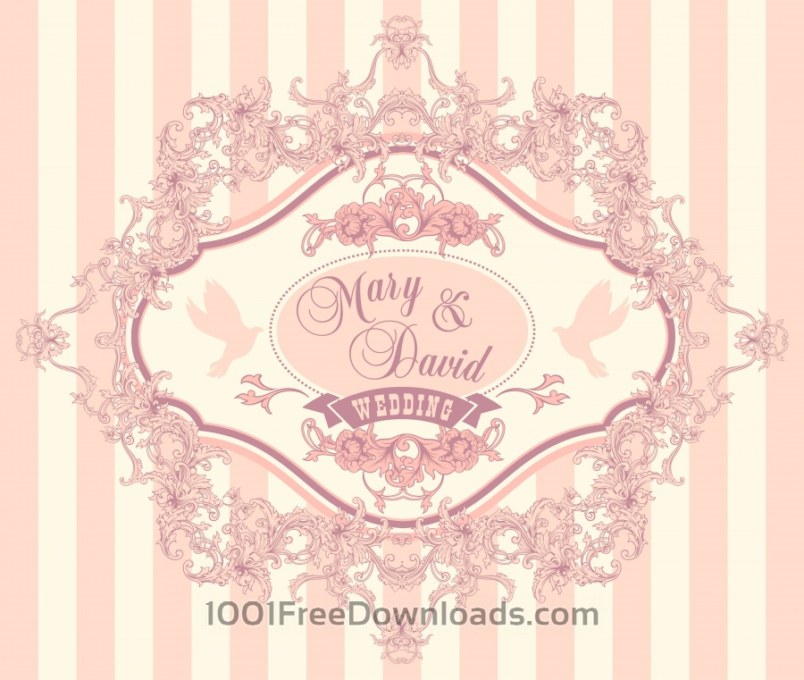 Free Vectors Wedding Invitation Cards With Floral Elements Vector Illustration