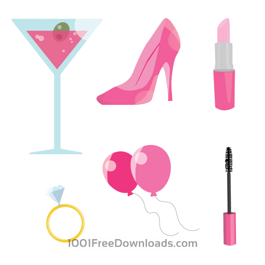 Free Vectors: Pink Bachelorette Party | Food & Drinks