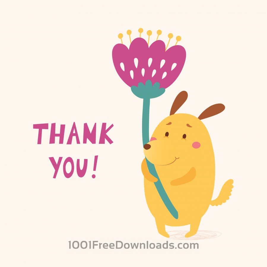 Thank you vector card with cute dog
