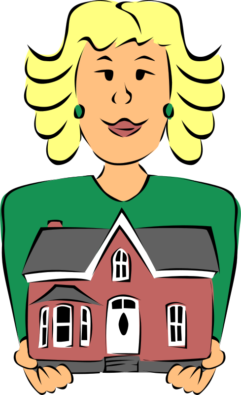 Free Clipart: Real Estate Agent Holding House | People