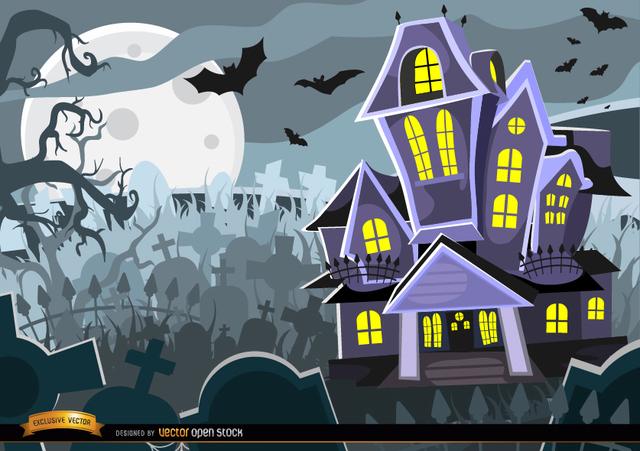 Free Vectors: Halloween Haunted mansion graveyard ...
