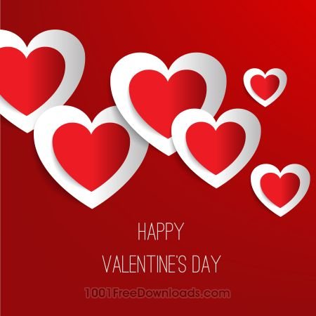 Valentine's day vector illustration with paper hearts