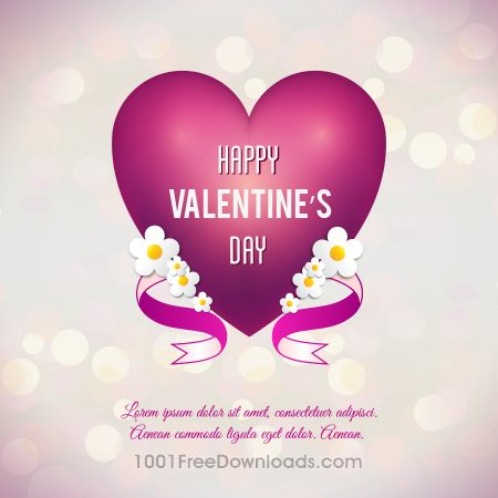 Valentine's day vector illustration with heart, flowers and ribbon