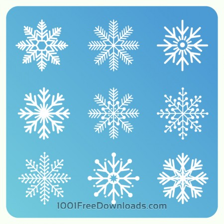 Christmas background with set of snowflakes