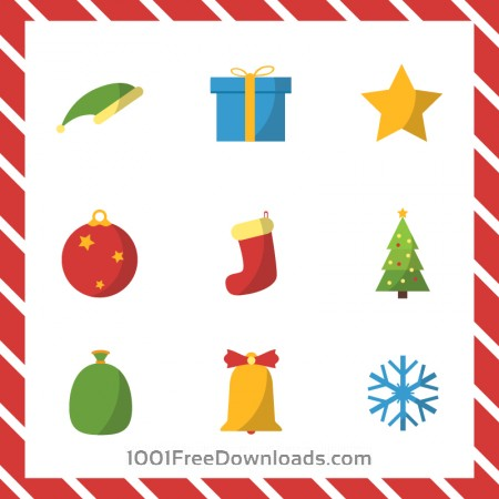 Christmas vector illustration with set of icons