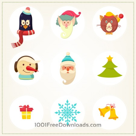 Christmas background with christmas icons