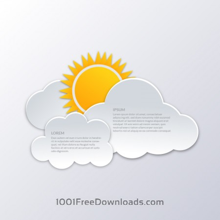 Clouds with sun illustration
