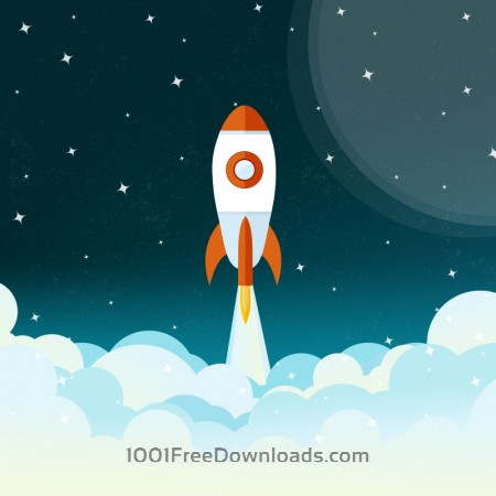 Space rocket flying illustration
