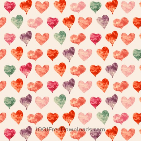 Watercolor pattern with hearts