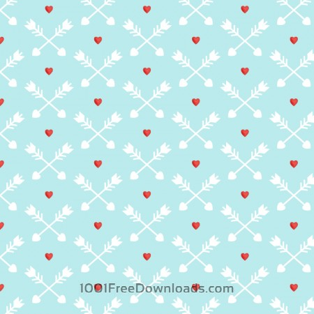 Love pattern with red hearts and arrows