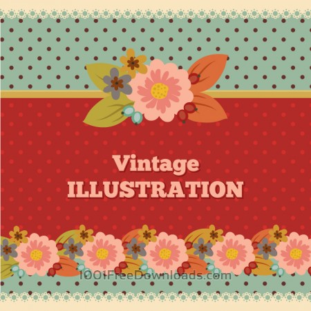 Vintage flower illustration with typography
