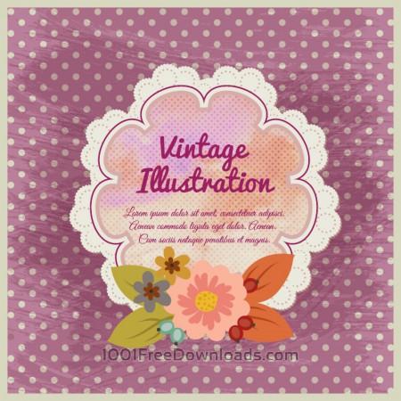 Vintage flower illustration with badge