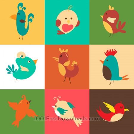 Cartoon vector set with birds
