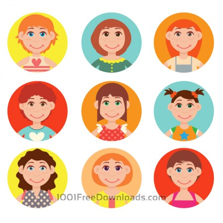 Cute avatars vector set