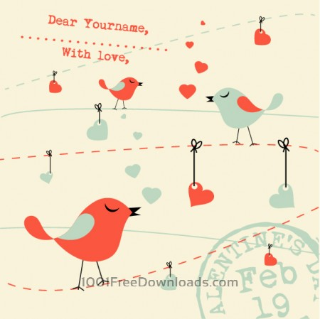 Valentines Card Background with Birds