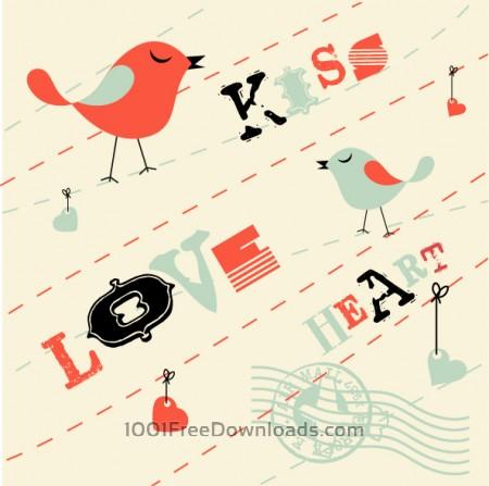 Valentines Card Background with Birds