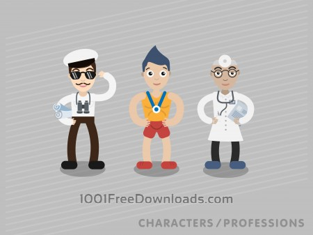 Three characters in different professions: shipman, sportsman, doctor