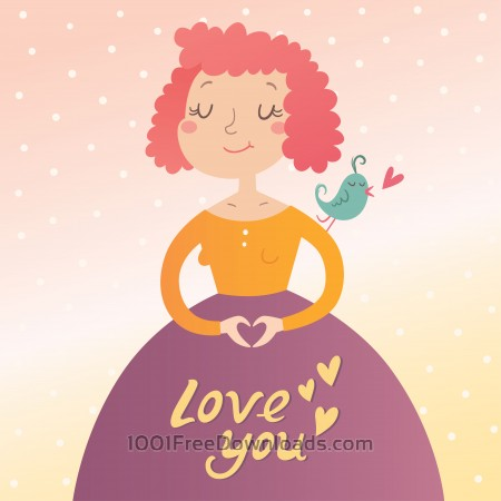 Vector illustration of young woman in love. Valentine's day card