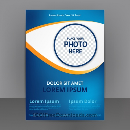 Business Abstract Flyer Template With blue Background