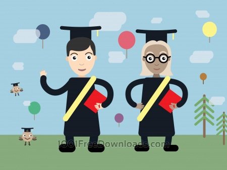 Two students vector character illustration