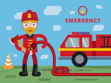 Fireman profession vector character illustration