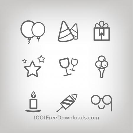 Vector icons for birhday or wedding design
