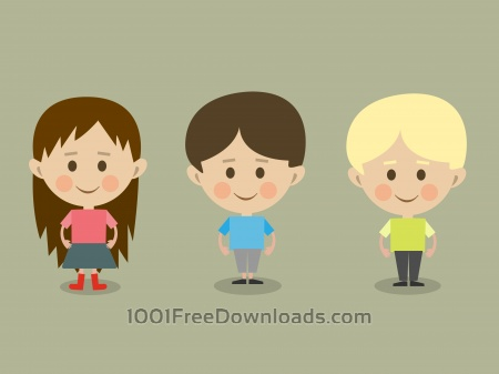 Vector cartoon children characters illustration