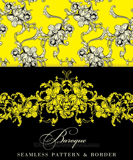 Seamless vector background. Baroque pattern and border.