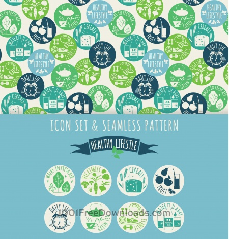 Healthy lifestyle. Icon set and seamless pattern