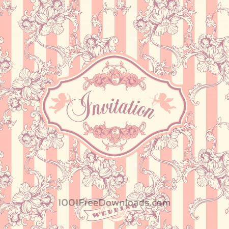 Wedding invitation cards with floral elements. Vector illustration.