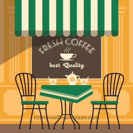 Illustration of street cafe