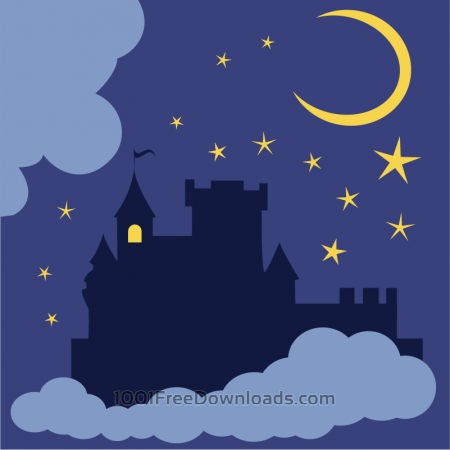 Mysterious castle in the night