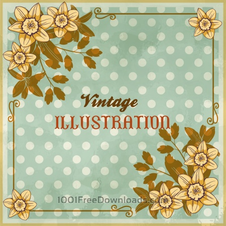 Vintage floral illustration with flowers, frame and typography