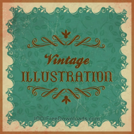 Vintage floral illustration with frame,ornament and typography
