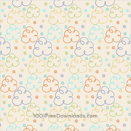 Cute pattern with clouds