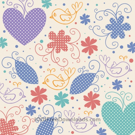 Vector illustration with hearts,birds and flowers