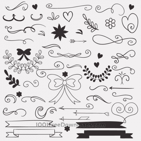 Set of doodle decorations