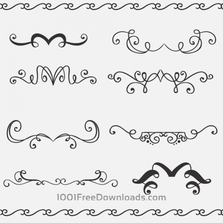 Vintage vector set of handdrawn decorations