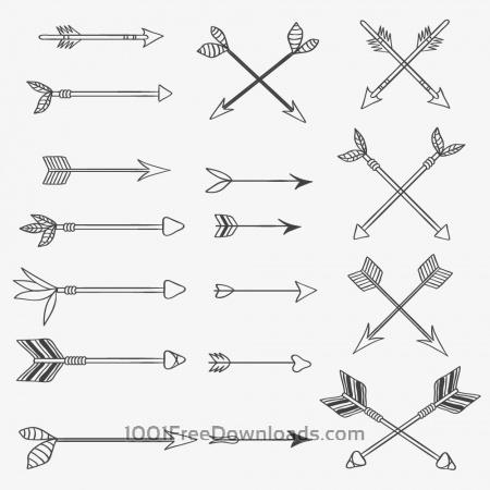 Vintage vector set of handdrawn arrows