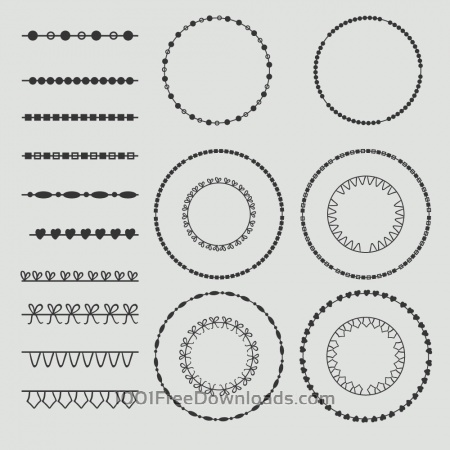 Vintage vector set of calligraphic circles